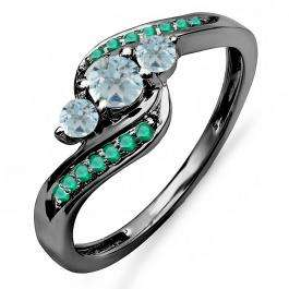0.50 Carat (ctw) Black Rhodium Plated 10K White Gold Aquamarine & Tsavorite 3 Stone Ring 1/2 CT