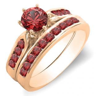 1.00 Carat (ctw) 10K Rose Gold Round Ruby Ladies Bridal Engagement Ring Set With Band 1 CT