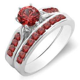 1.00 Carat (ctw) 18K White Gold Round Ruby Ladies Bridal Engagement Ring Set With Band 1 CT