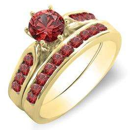 1.00 Carat (ctw) 18K Yellow Gold Round Ruby Ladies Bridal Engagement Ring Set With Band 1 CT