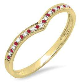 0.12 Carat (ctw) 14K Yellow Gold Round Ruby & Diamond Ladies Wedding Stackable Band