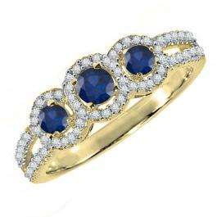 14K Yellow Gold Round Blue Sapphire & White Diamond Ladies Engagement Ring