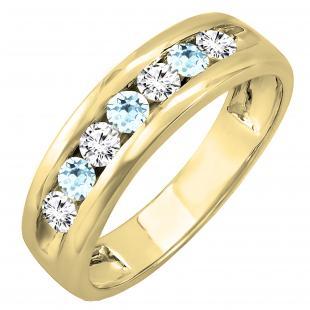 18K Yellow Gold Round Aquamarine & White Diamond Men's Fashion Wedding Band
