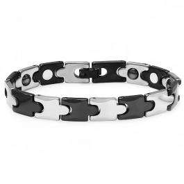 Tungsten Carbide Two Tone Black & White Plated Magnetic Therapy Bio Healing Mens Link Bracelet (10 MM Width x 7 Inch Length)