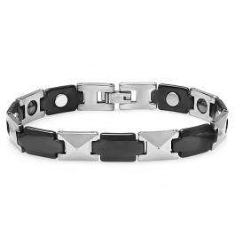 Tungsten Carbide Two Tone Black & White Plated Magnetic Therapy Bio Healing Mens Link Bracelet (9.75 MM Width x 7.5 Inch Length)