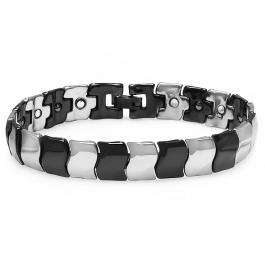 Tungsten Carbide Two Tone Black & White Plated Magnetic Therapy Bio Healing Mens Link Bracelet (12 MM Width x 7.5 Inch Length)