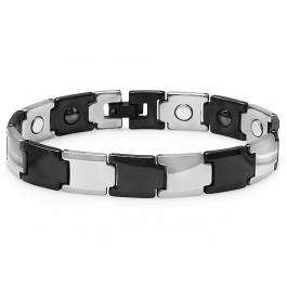 Tungsten Carbide Two Tone Black & White Plated Magnetic Therapy Bio Healing Mens Link Bracelet (10 MM Width x 8 Inch Length)