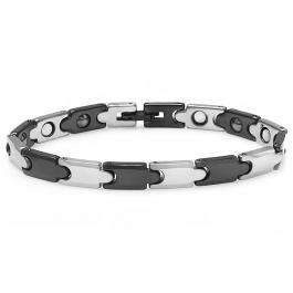 Tungsten Carbide Two Tone Black & White Plated Magnetic Therapy Bio Healing Mens Link Bracelet (6.5MM Width x 7 Inch Length)
