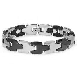 Tungsten Carbide Two Tone Black & White Plated Magnetic Therapy Bio Healing Mens Link Bracelet (12.5 MM Width x 7.5 Inch Length)