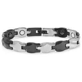 Tungsten Carbide Two Tone Black & White Plated Magnetic Therapy Bio Healing Mens Link Bracelet (11MM Width x 7.5 Inch Length)