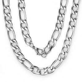 Stainless Steel Men's Platinum Plated Hip Hop Figaro Chain (8 MM Width x 30 Inch Length)
