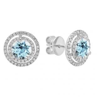 18K White Gold 6 MM Each Round Cut Aquamarine & White Diamond Ladies Double Halo Stud Earrings