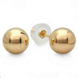 14k Yellow Gold Ball 8mm Stud Earrings with Silicon covered Gold Pushbacks