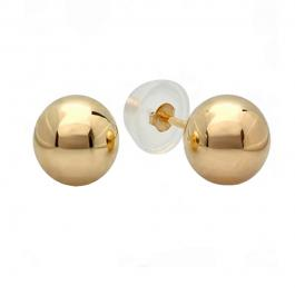 Small 3mm 14K Yellow Gold Ball for Baby and Children Stud Earrings with Silicon covered Gold Pushbacks