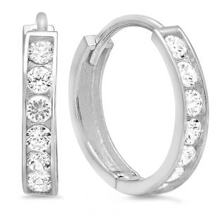 14k White Gold Round Cut White Cubic Zirconia CZ Ladies Huggie Hoop Earrings (2.3 mm Width x 12 mm Length)