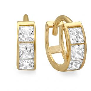 14k Yellow Gold Princess Cut White Cubic Zirconia CZ Ladies Huggie Hoop Earrings (3 mm Width x 8 mm Length)