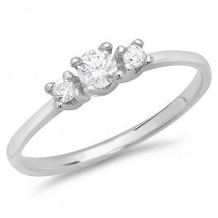 0.40 Carat (ctw) 14K White Gold Round Cubic Zirconia Three Stone Ladies Engagement Ring (Size 7)
