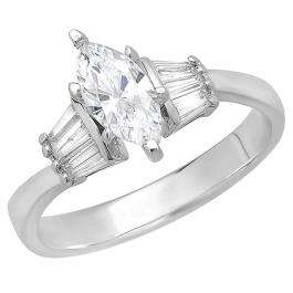 1.25 Carat (ctw) 14K White Gold Marquise and Baguette Cubic Zirconia Solitaire with Accents Ladies Engagement Ring (Size 7)