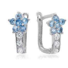 14K White Gold Blue Topaz & White Round White CZ Cubic Zirconia Ladies Huggie Hoop Earrings