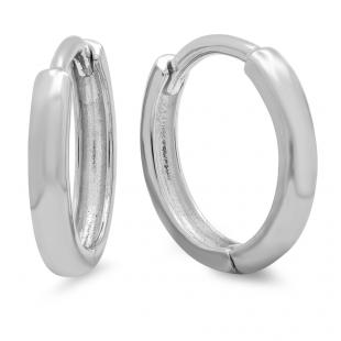 14K White Gold Hoop Earrings (2 mm wide and 11 mm diameter)