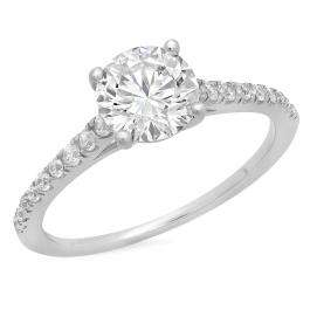 2.10 Carat (ctw) 14K White Gold Round White Cubic Zirconia Ladies Bridal Engagement Ring