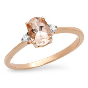 0.67 Carat (ctw) 10K Rose Gold Oval Cut Morganite & Round White Diamond Ladies Bridal Promise Engagement Ring
