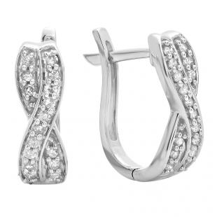 0.20 Carat (ctw) 10K White Gold Round White Diamond Ladies Infinity Swirl Hoop Earrings 1/5 CT