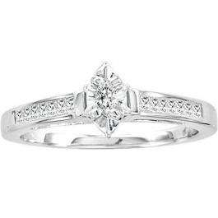 0.25 Carat (ctw) 14k White Gold Marquise & Princess Cut Diamond Ladies Bridal Engagement Ring