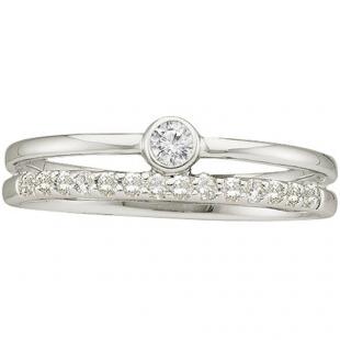 0.20 Carat (ctw) 14k White Gold Round White Diamond Ladies Bridal Engagement Ring Set
