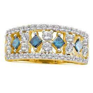 1.25 Carat (ctw) 14k Yellow Gold Round & Princess Cut White & Blue Diamond Ladies Right Hand Fashion Band