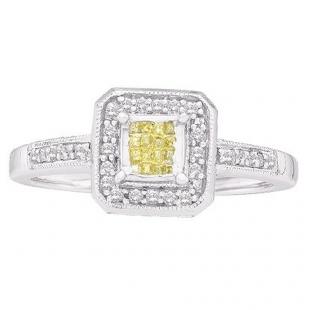 0.25 Carat (ctw) 14k White Gold Yellow & White Diamond Ladies Invisible Bridal Engagement Ring