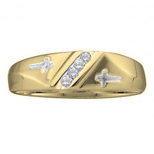 0.05 Carat (ctw) 10K Yellow Gold Round White Diamond Men's Fashion Anniversary Cross Ring Wedding Band