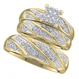 0.30 Carat (ctw) 10K Yellow Gold Round Cut White Diamond Men & Women's Cluster Engagement Ring Trio Bridal Set 1/3 CT