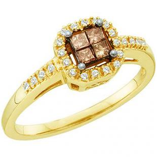 0.25 Carat (ctw) 14k Yellow Gold Champagne & White Diamond Ladies Invisible Bridal Engagement Ring