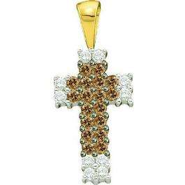 0.25 Carat (ctw) 14k Yellow Gold Round Diamond Ladies Religious Cross Pendant