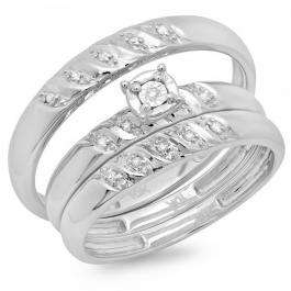 0.08 Carat (ctw) 10K White Gold Round Cut White Diamond Men & Women's Fashion Engagement Ring Trio Bridal Set