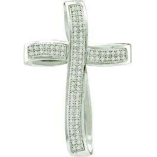 0.25 Carat (ctw) 10k White Gold Brilliant White Diamond Ladies Cross Pendant