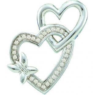 0.10 Carat (ctw) 10k White Gold Round Diamond Ladies Double Heart Pendant