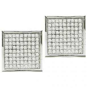 0.05 Carat (ctw) 10k White Gold Round Diamond Ladies Micro Pave Setting Square Shape Stud Earrings