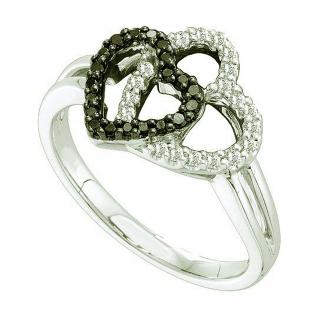 0.27 Carat (ctw) 14k White Gold Round Black & White Diamond Ladies Double Heart Promise Ring