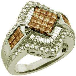 1.50 Carat (ctw) 10k White Gold Round Baguette & Princess Cut White & Champagne Diamond Ladies Invisible Bridal Ring