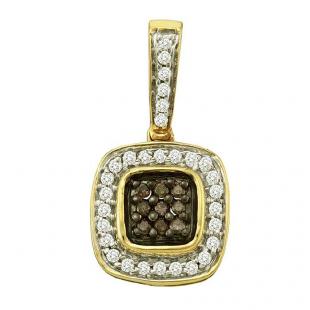 0.26 Carat (ctw) 14k Yellow Gold Round Brown & White Diamond Ladies Pendant
