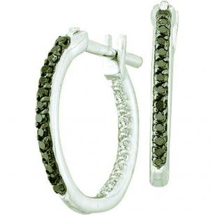 0.25 CT 14k White Gold Black & White Diamond In & Out Hoop Earrings
