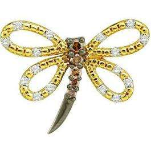 0.26 Carat (ctw) 14k Yellow Gold White & Brown Diamond Ladies Butterfly Pendant