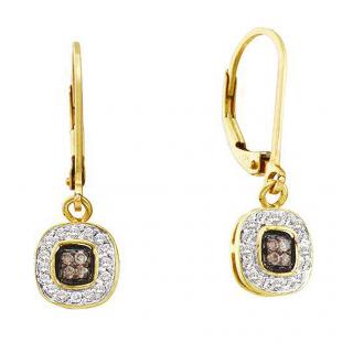 0.23 Carat (ctw) 14k Yellow Gold Round Champagne  & White Diamond Ladies Drop Earrings
