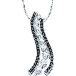 0.50 Carat (ctw) 10K White Gold Round Black & White Diamond Ladies Journey Pendant 1/2 CT