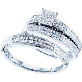 0.25 Carat (ctw) 10k White Gold Round Diamond Men's & Women's Micro Pave Bridal Engagement Ring Trio Set