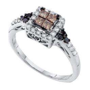 0.50 Carat (ctw) 14k White Gold Round & Princess Cut White Brown & Black Diamond Ladies Right Hand Invisible Ring