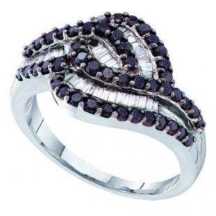 0.95 Carat (ctw) 14k White Gold Round & Baguette Cut Black & White Diamond Ladies Right Hand Fashion Band