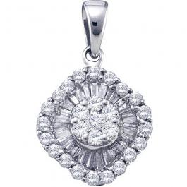 0.80 Carat (ctw) 14k White Gold Round & Baguette Cut White Diamond Ladies Cluster Flower Pendant